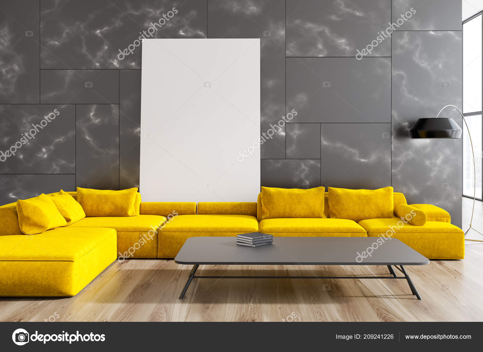 Modern Living Room Interior Black Marble Walls Wooden Floor Yellow Stock Photo C Denisismagilov 209241226