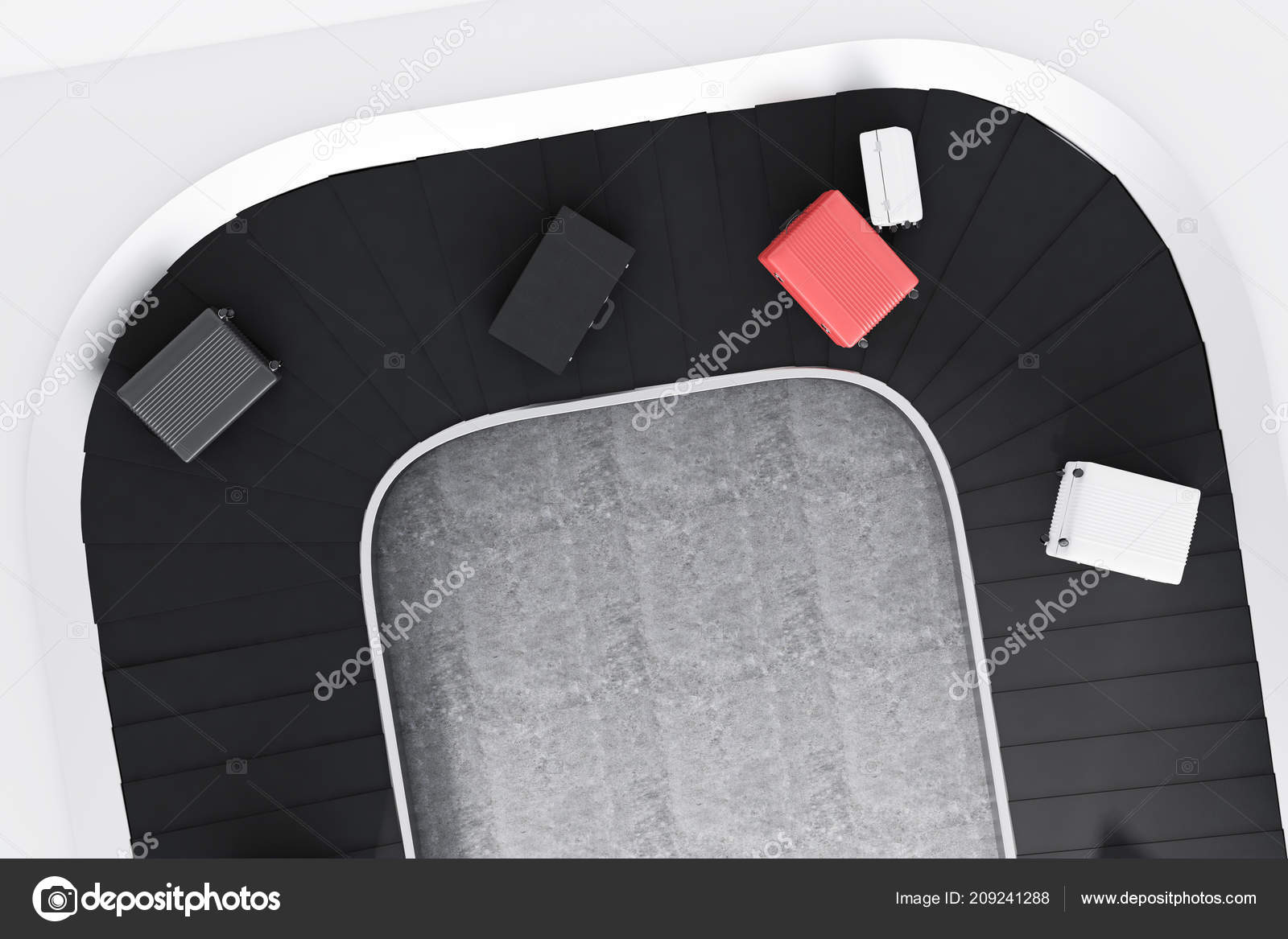 Top View Gray White Pink Suitcases Airport Conveyor Belt Concrete