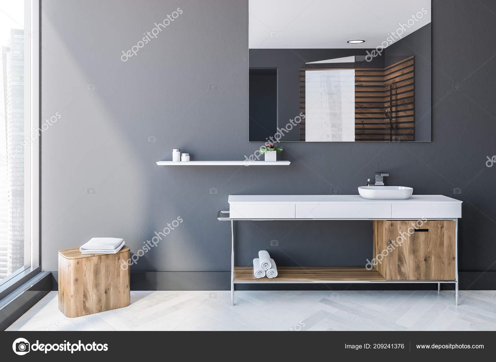 Skandinavischen Stil Badezimmer Interieur Mit Grauen Wänden Einem ...
