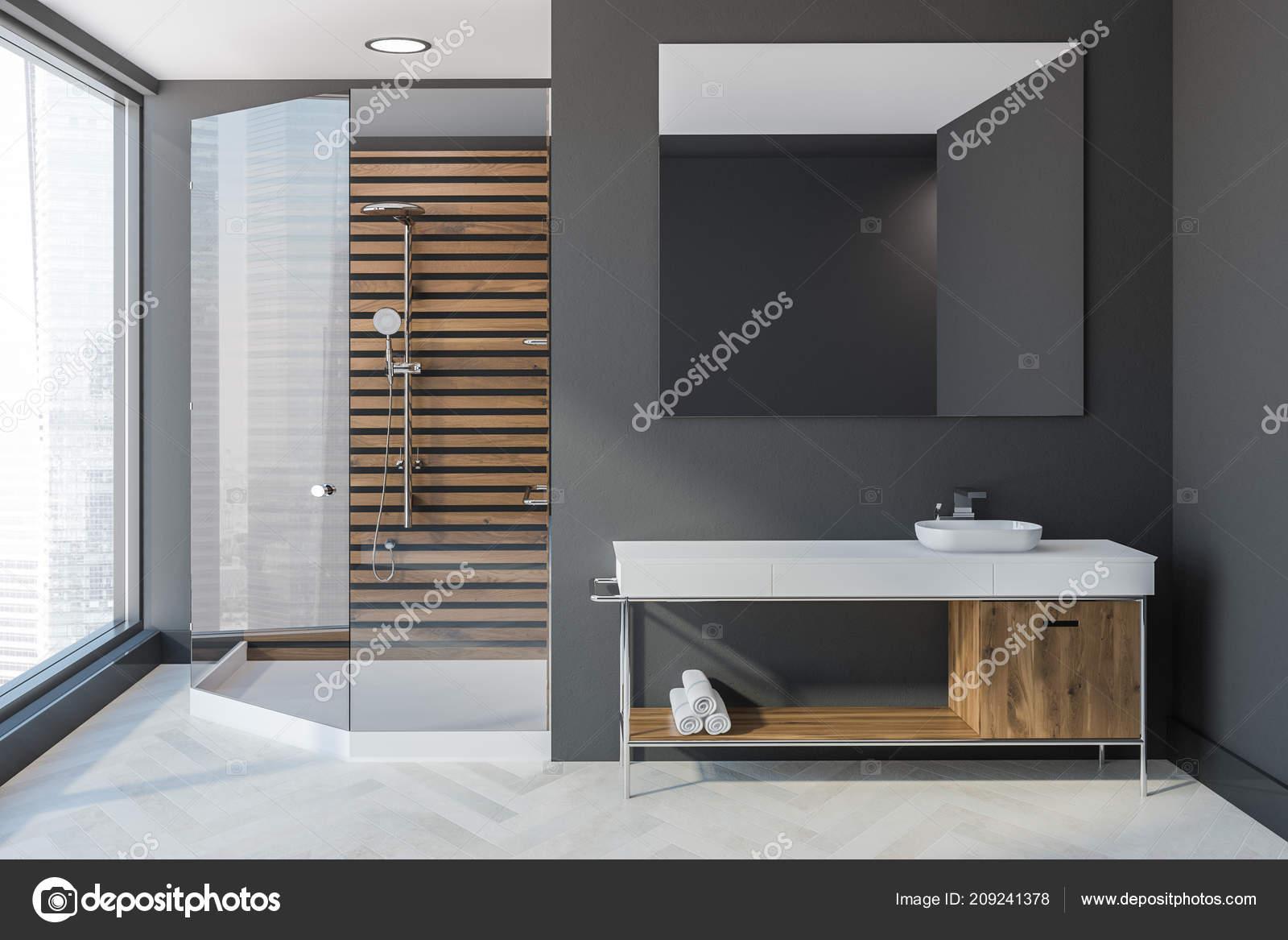 Scandinavian Style Bathroom Interior Grey Walls White Wooden Floor on