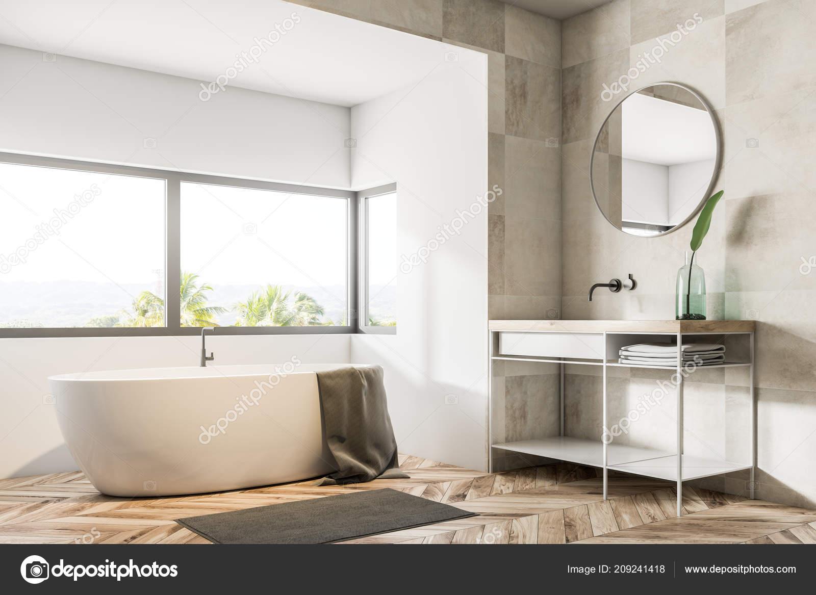 Holzfußboden Im Bad ~ Bad ecke mit beige fliesen wände holzfußboden eine badewanne unter