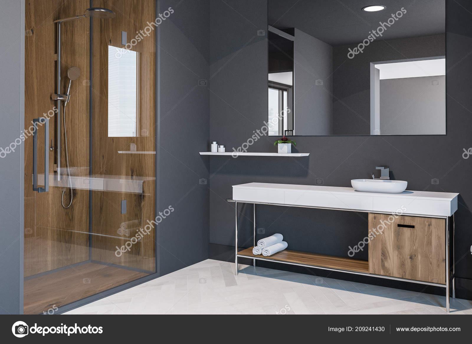 Scandinavian Style Bathroom Corner Grey Walls White Wooden Floor Sink Stock Photo Image By C Denisismagilov 209241430