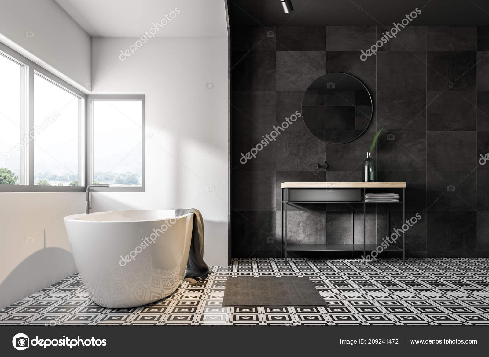Badezimmer Interieur Mit Grauen Fliesen Wande Fliesenboden