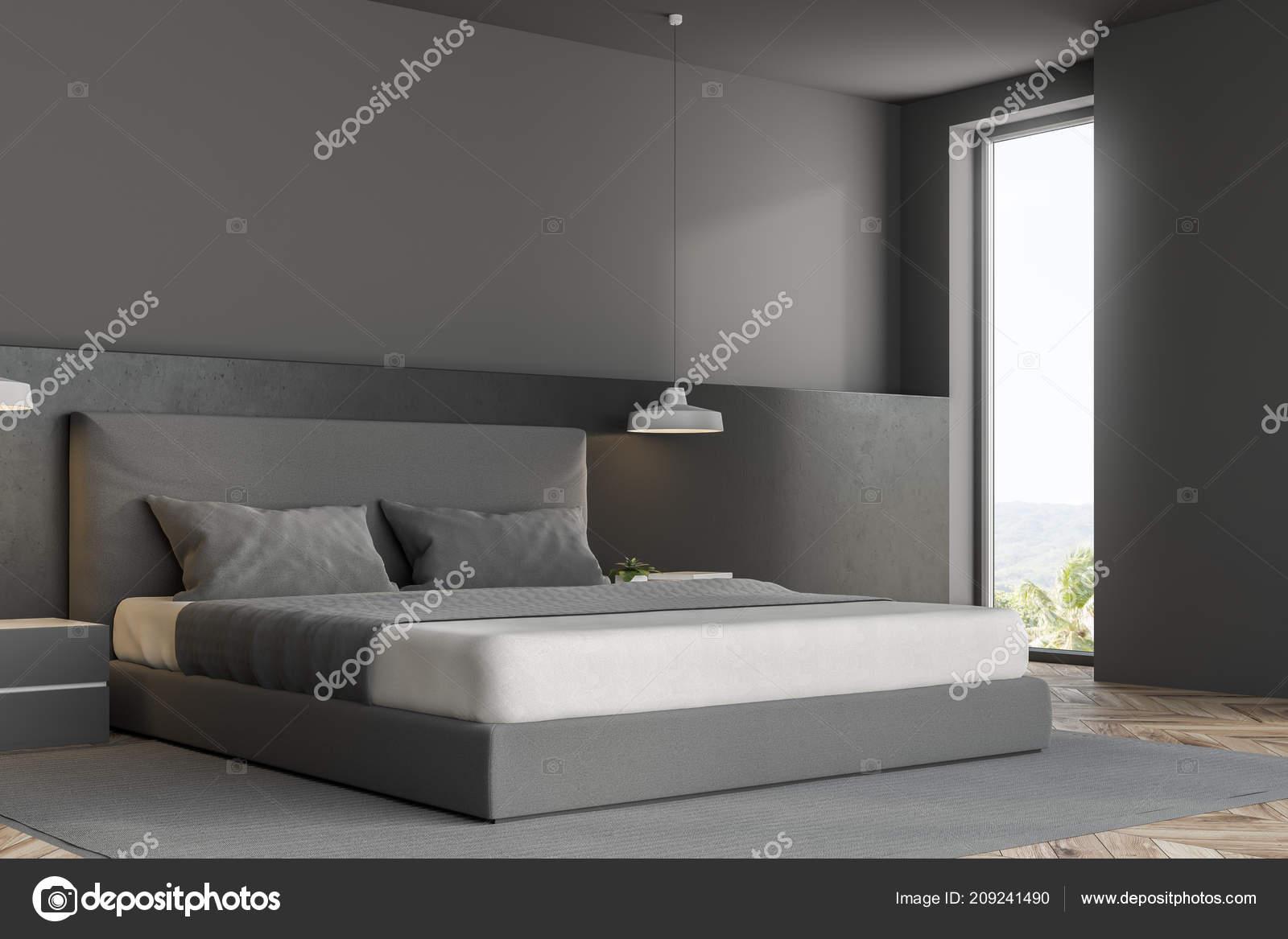 Camere Da Letto Pareti Grigie : Il letto della carta da parati bianca e rosa nella camera da letto