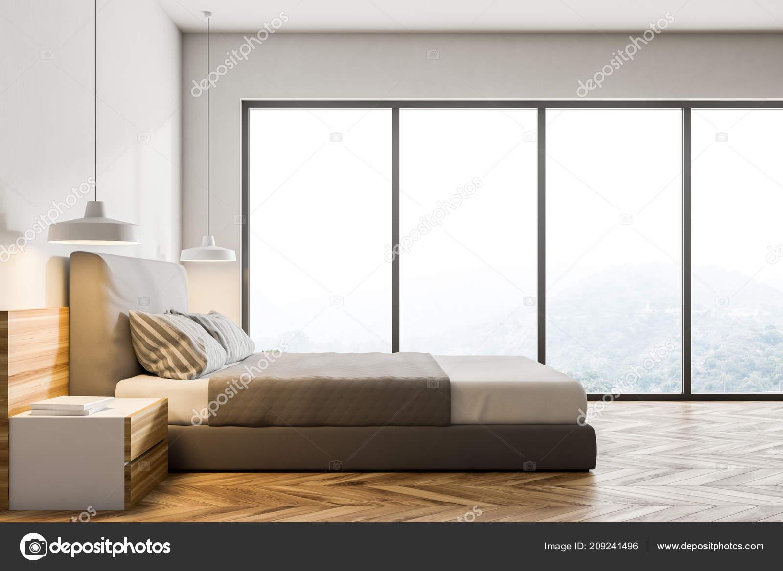 Fußboden Schlafzimmer Lampen ~ Seitlicher blick auf eine moderne schlafzimmer mit weißen wänden