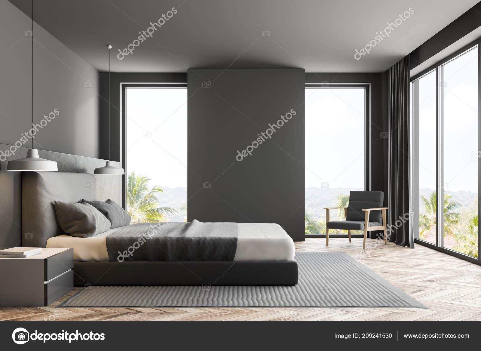Camere Da Letto Pareti Grigie : Interno camera letto lusso con pareti grigie pavimento legno con