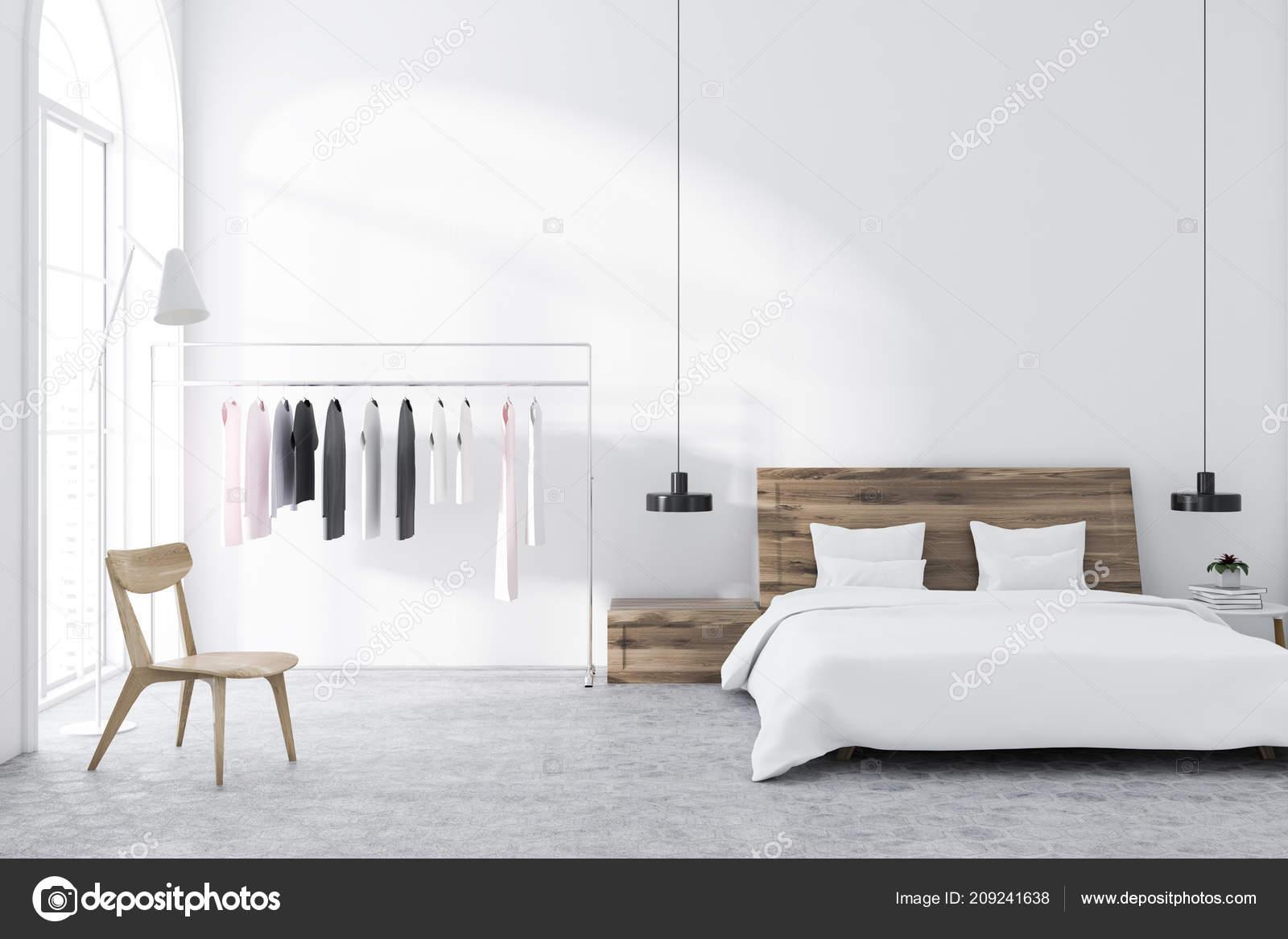 Scandinavian Style Bedroom White Walls Tiled Floor Clothes ...