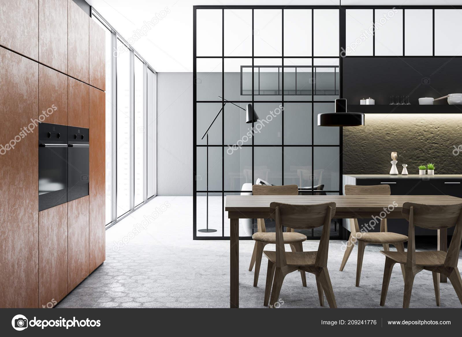 Nero Muro Cemento Cucina Sala Pranzo Interna Con Pavimento ...