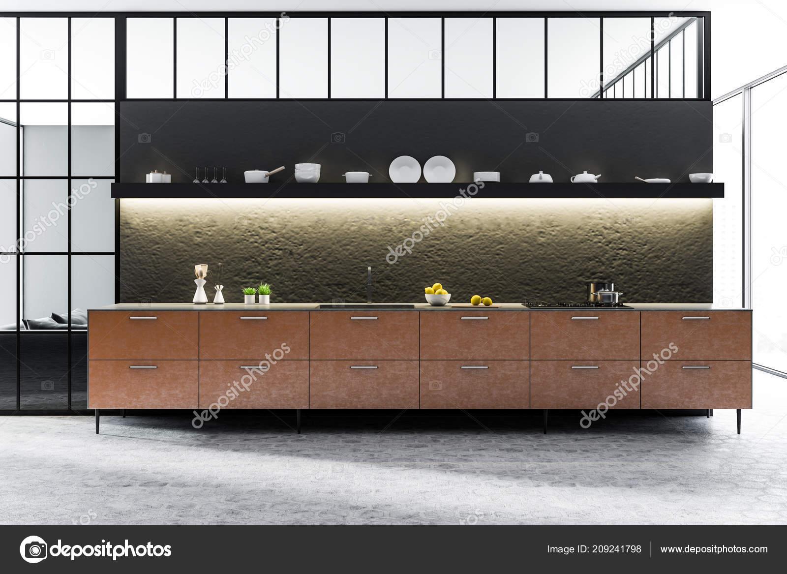 Schwarz Und Konkrete Wand Küche Interieur Mit Fliesenboden Braun ...