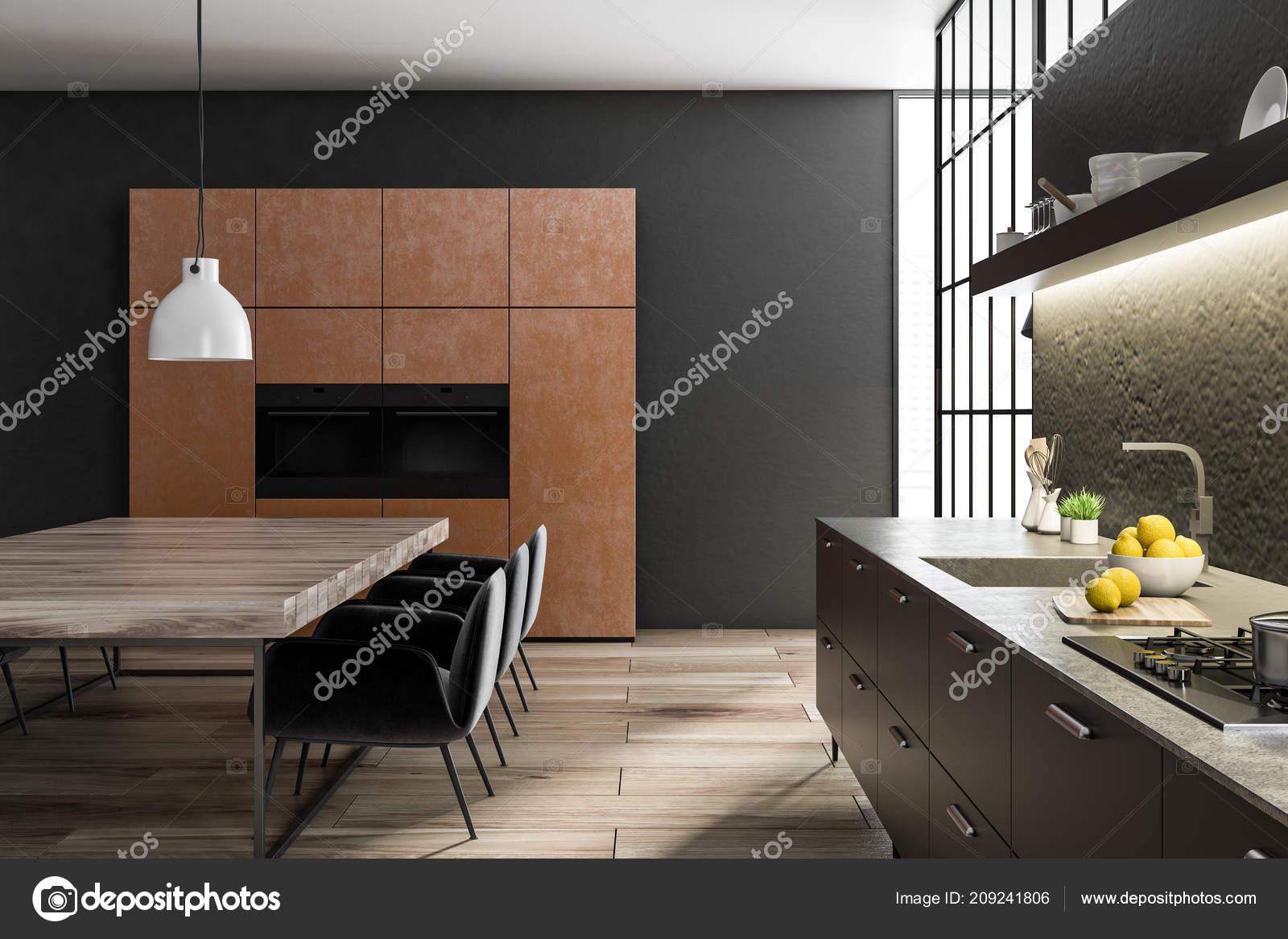 Schwarz Und Betonwand Küche Und Esszimmer Interieur Mit Einem ...