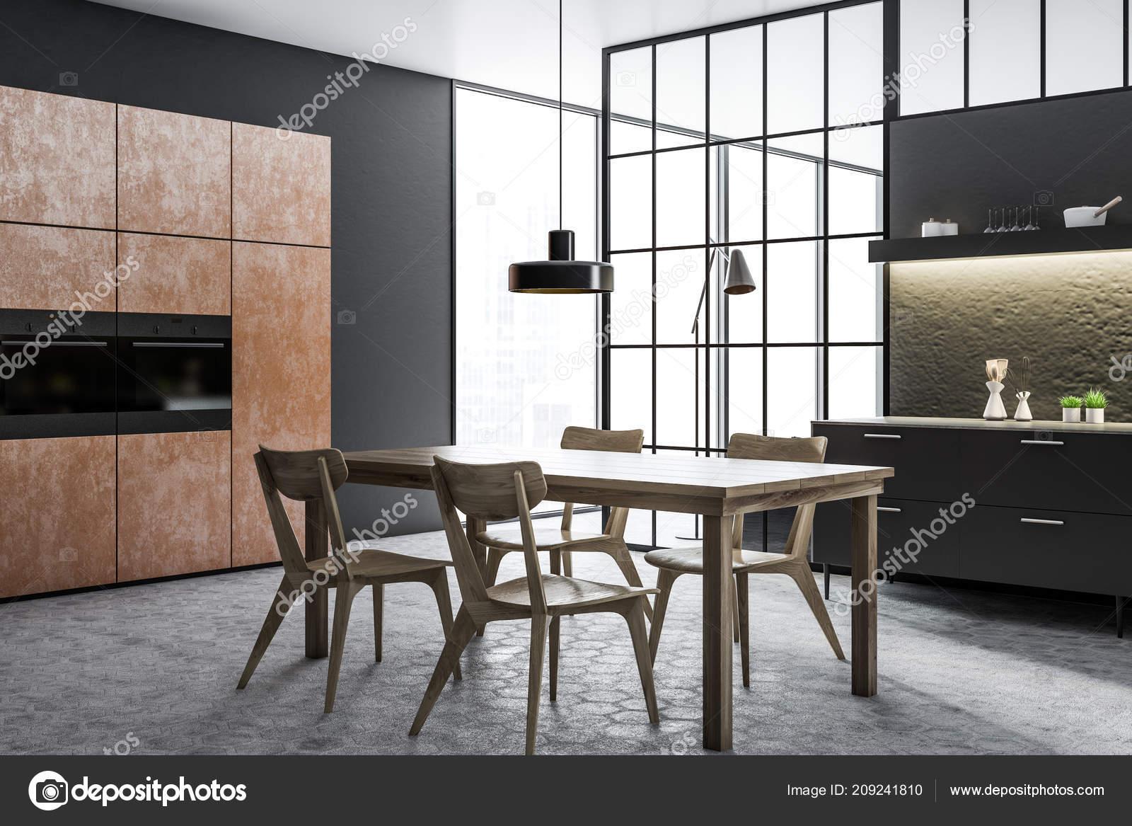 Schwarz Und Betonwand Küche Und Esszimmer Ecke Mit Einem ...
