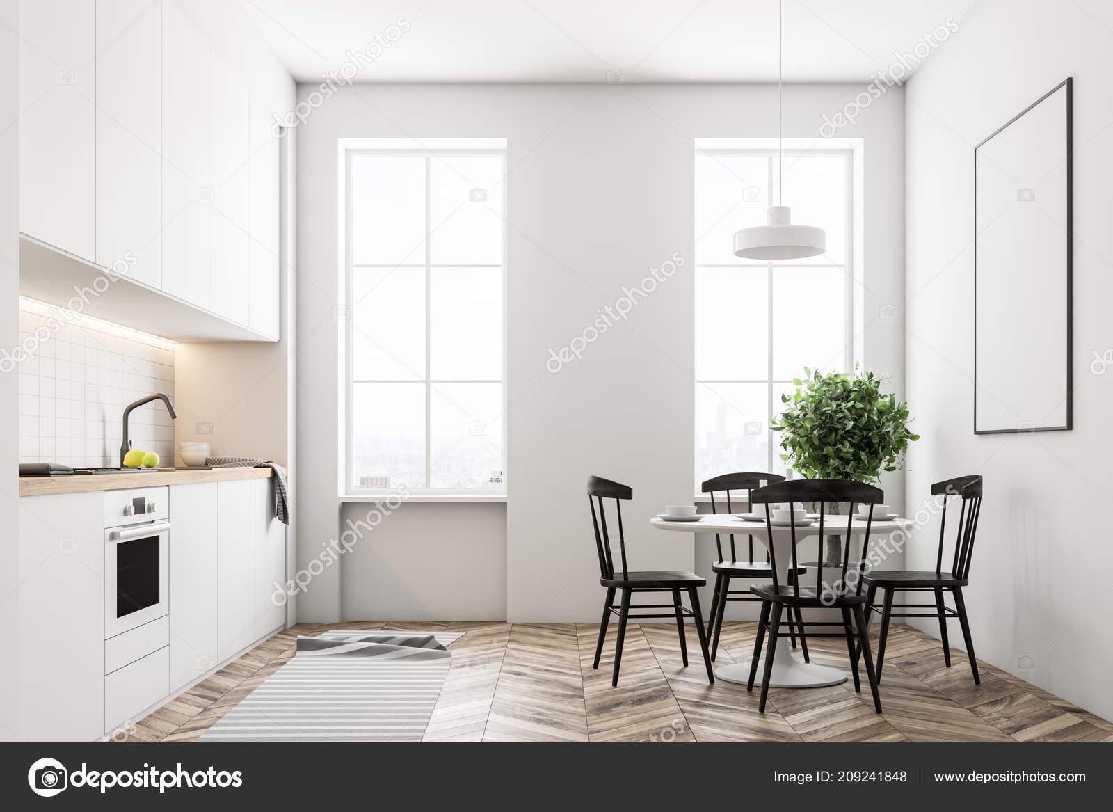 Moderne küche interieur mit weißen wänden große fenster einen