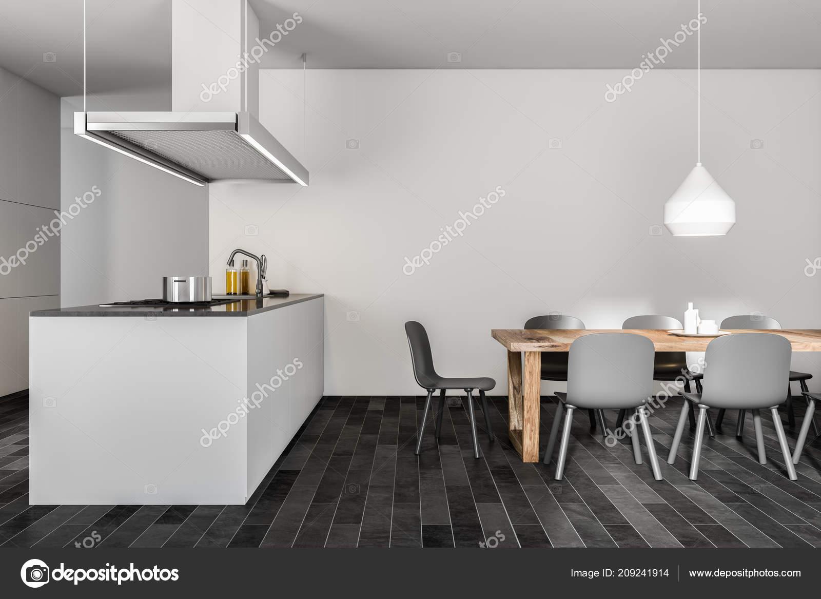 Angolo Muro Bianco Cucina Sala Pranzo Con Pavimento Legno Scuro ...