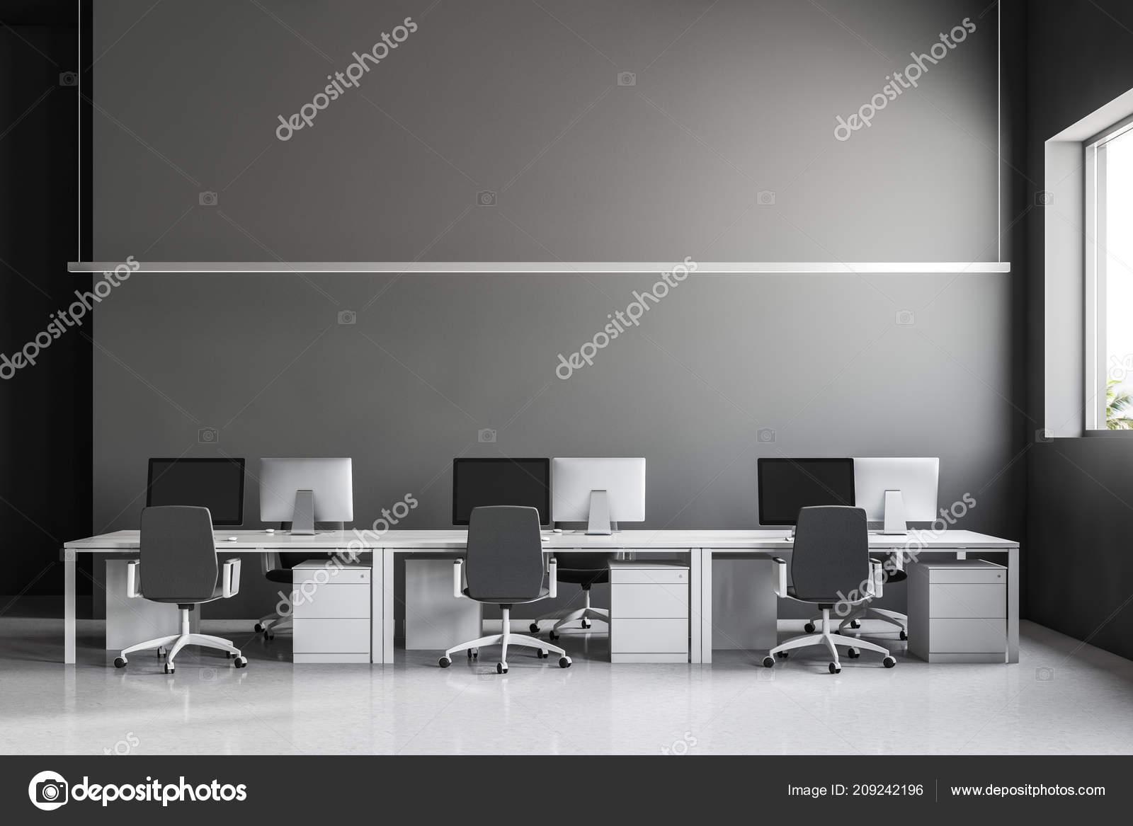 Industrialny Styl Wnętrz Biurowych Szare ściany Biała