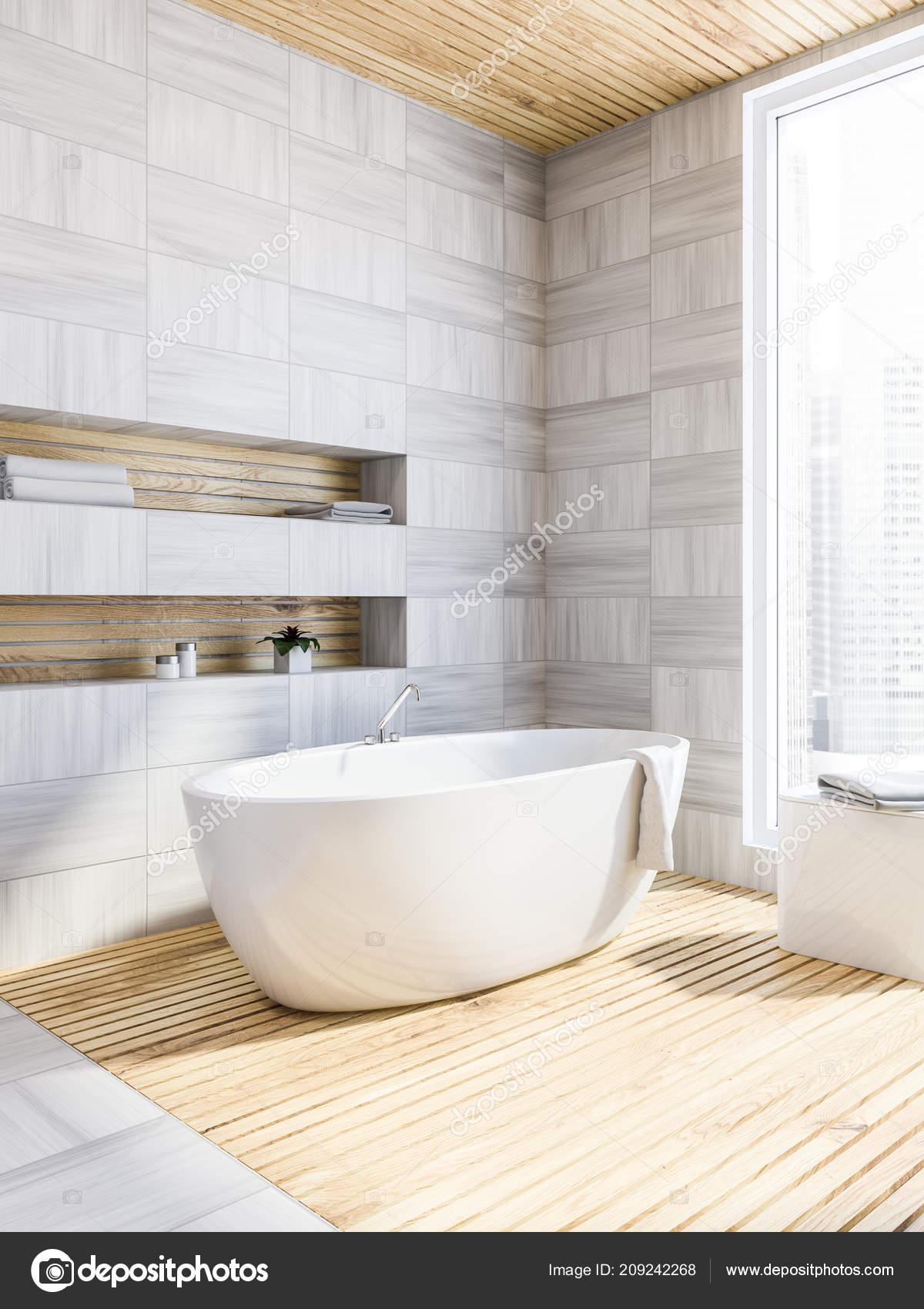 Bathroom Corner White Wooden Walls Floor Bathtub Standing Large ...