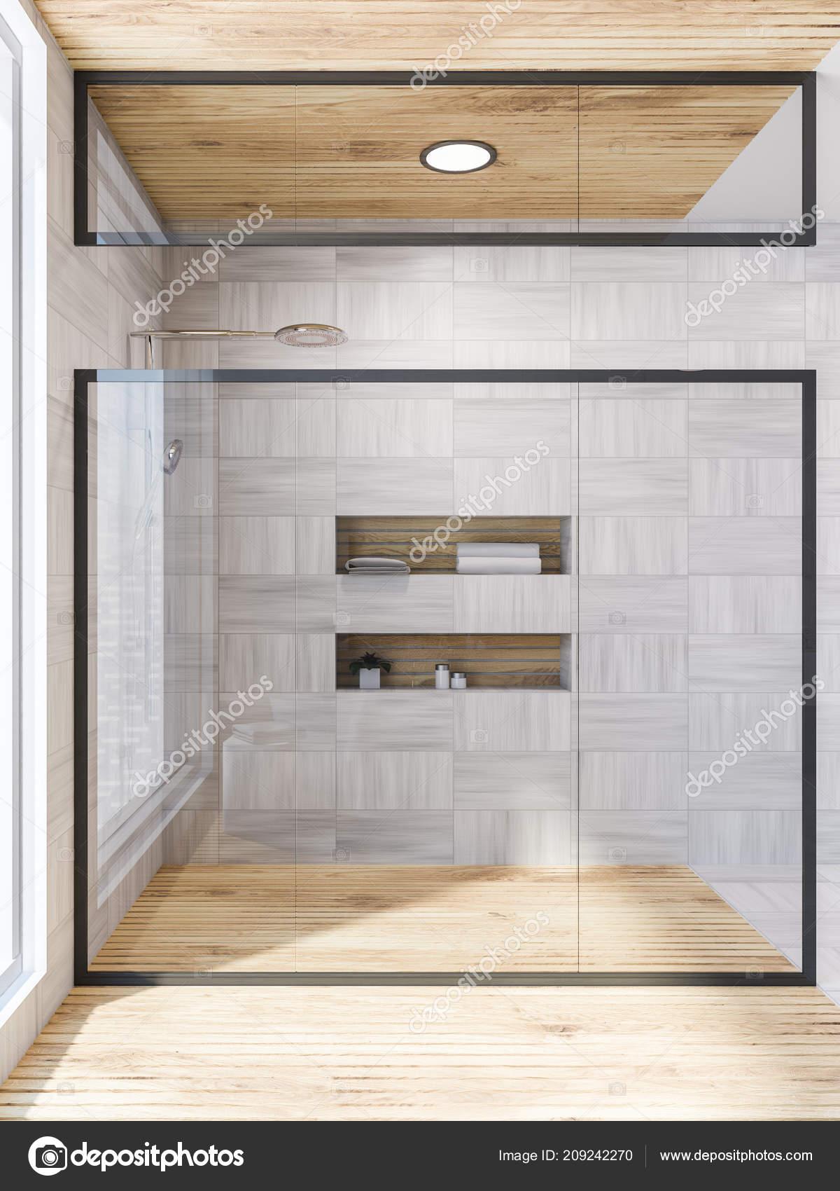 Wnętrze łazienki Białe Drewniane ściany Podłogi ściany