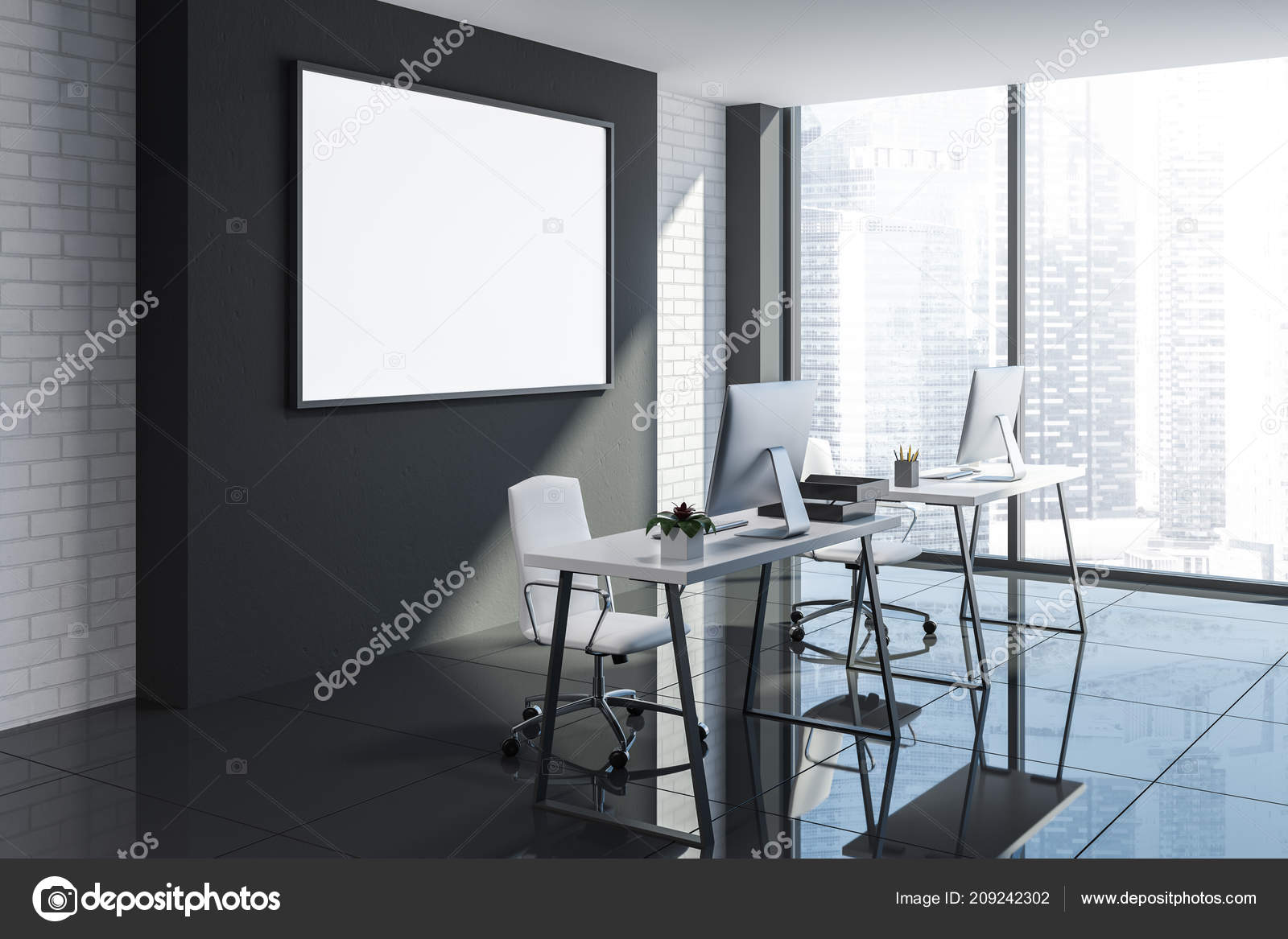 Angolo ufficio minimalista con muri mattoni bianco nero pavimento