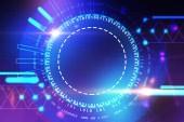 Abstraktní zářící pohlcující futuristické uživatelské rozhraní v modré a fialové. Koncept hi tech a inovace. Tónovaný obrázek dvojexpozicí mock-up
