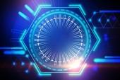 Abstraktní zářící pohlcující futuristické uživatelské rozhraní v odstínech modré. Koncept hi tech a inovace. Tónovaný obrázek dvojexpozicí mock-up