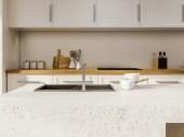 Fotografie Bílá zeď kuchyňský interiér s bílé skříně a desky a kamenný ostrov s umyvadlem. 3D vykreslování vysmívat se