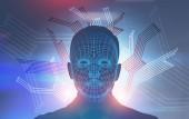 Abstraktní lidské mužská tvář s mnohoúhelníky a obvody v popředí. Tvář uznání a ai koncept. Dejte si pozor na roboty. Tónovaný obrázek dvojexpozicí mock-up