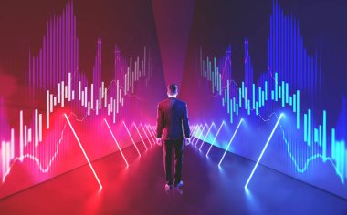 Rear view of a businessman in suit walking inside a hexagonal corridor with red and blue neon lights along the walls. Futuristic interior. Graphs Toned image double exposure mock up