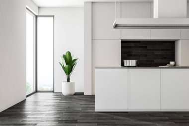 White wall kitchen interior with a dark wooden floor, white closets and countertops and an island with a sink. Loft windows. 3d rendering mock up