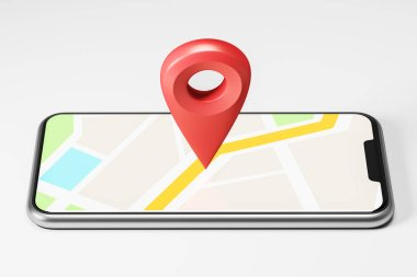 Bright map with a large red pointer in the centre showing the route and destination point on the smartphone screen. Concept of navigation, finding your goal and GPS. 3d rendering mock up