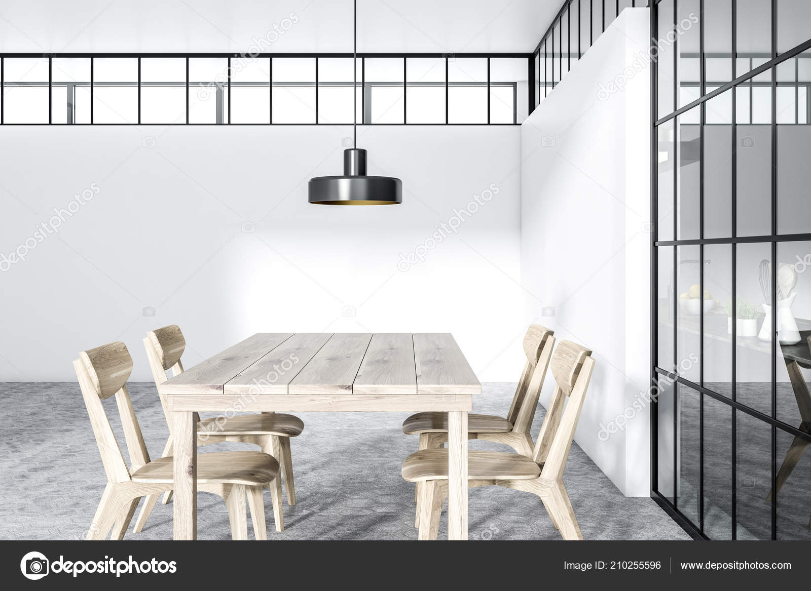 Strange Modern White Wall Dining Room Interior Hexagonal Gray Tile Pabps2019 Chair Design Images Pabps2019Com