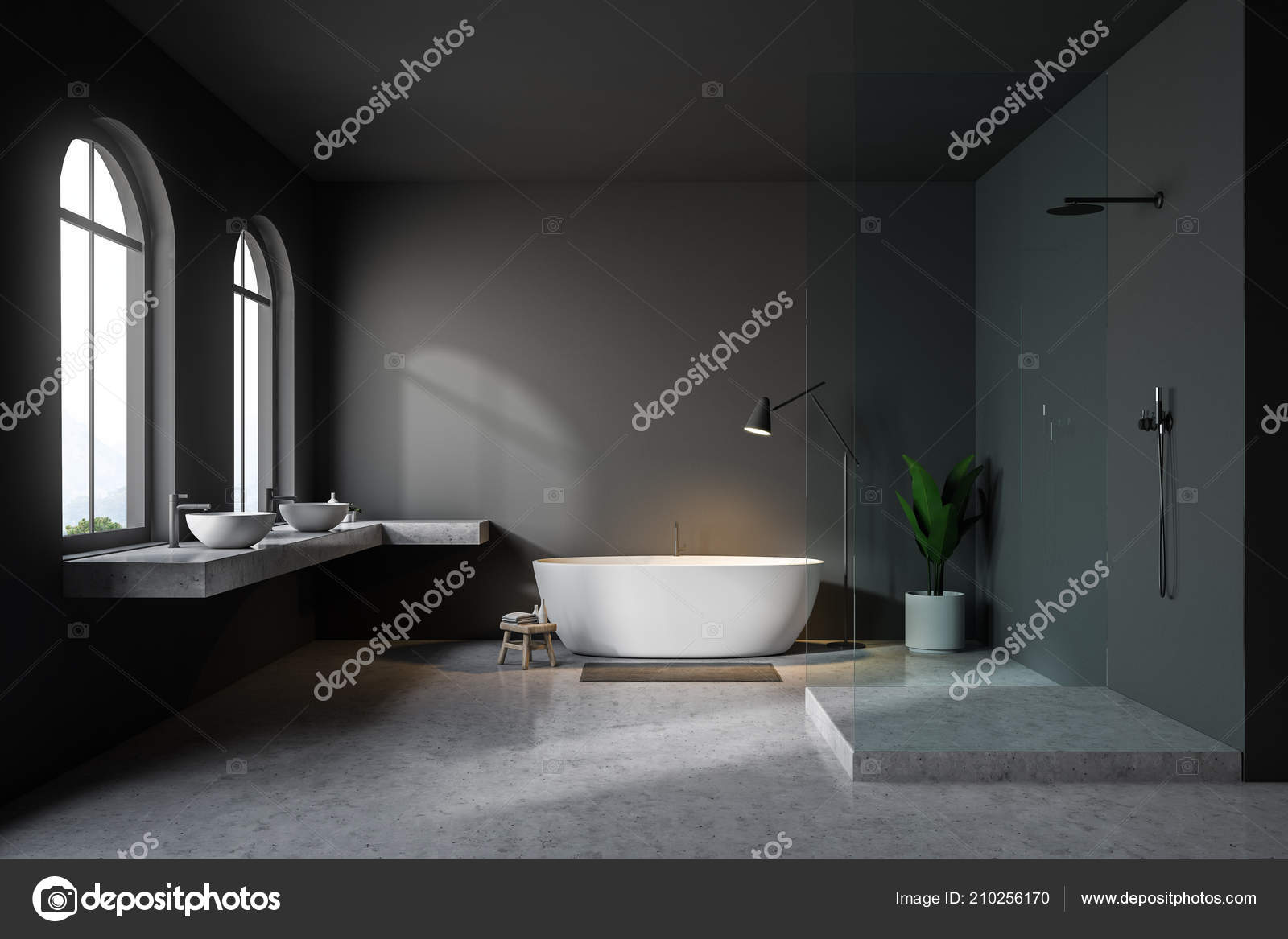 Modern Gray Wall Bathroom Interior Concrete Floor Arched