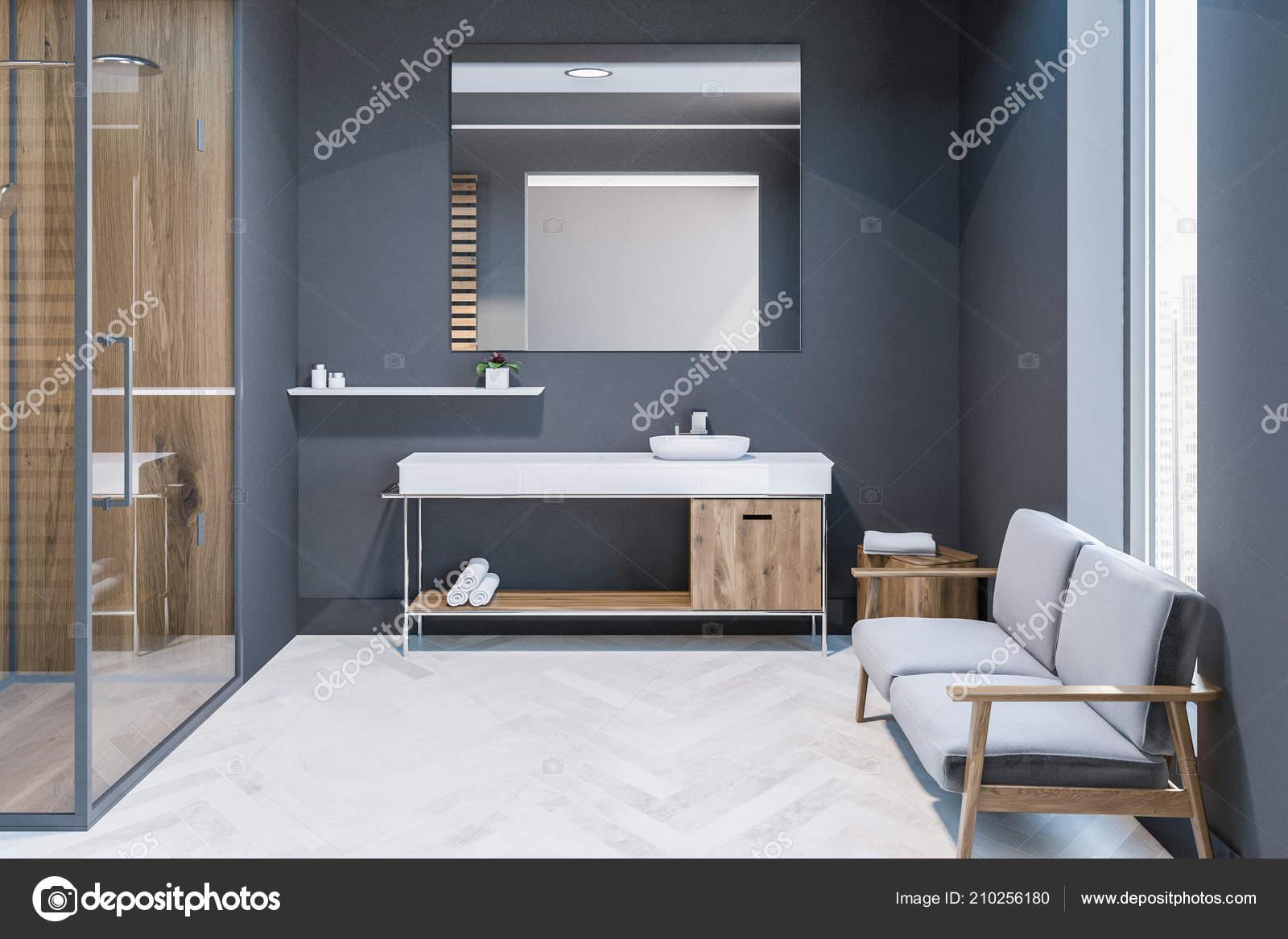 Moderne Graue Wand Badezimmer Interieur Mit Weissen Holzboden