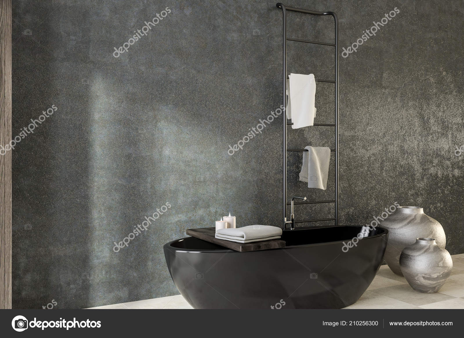 Portasciugamani Bagno Muro : Interiore stanza bagno muro cemento con pavimento piastrelle vasca