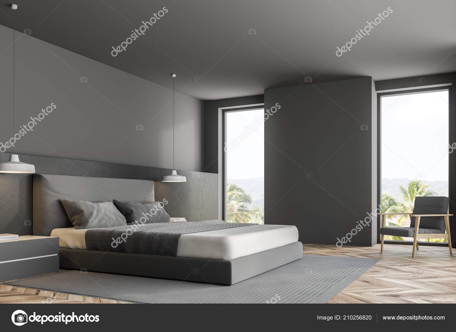 3d Fußboden Schlafzimmer ~ Ecke ein luxus schlafzimmer mit grauen wänden einen hölzernen