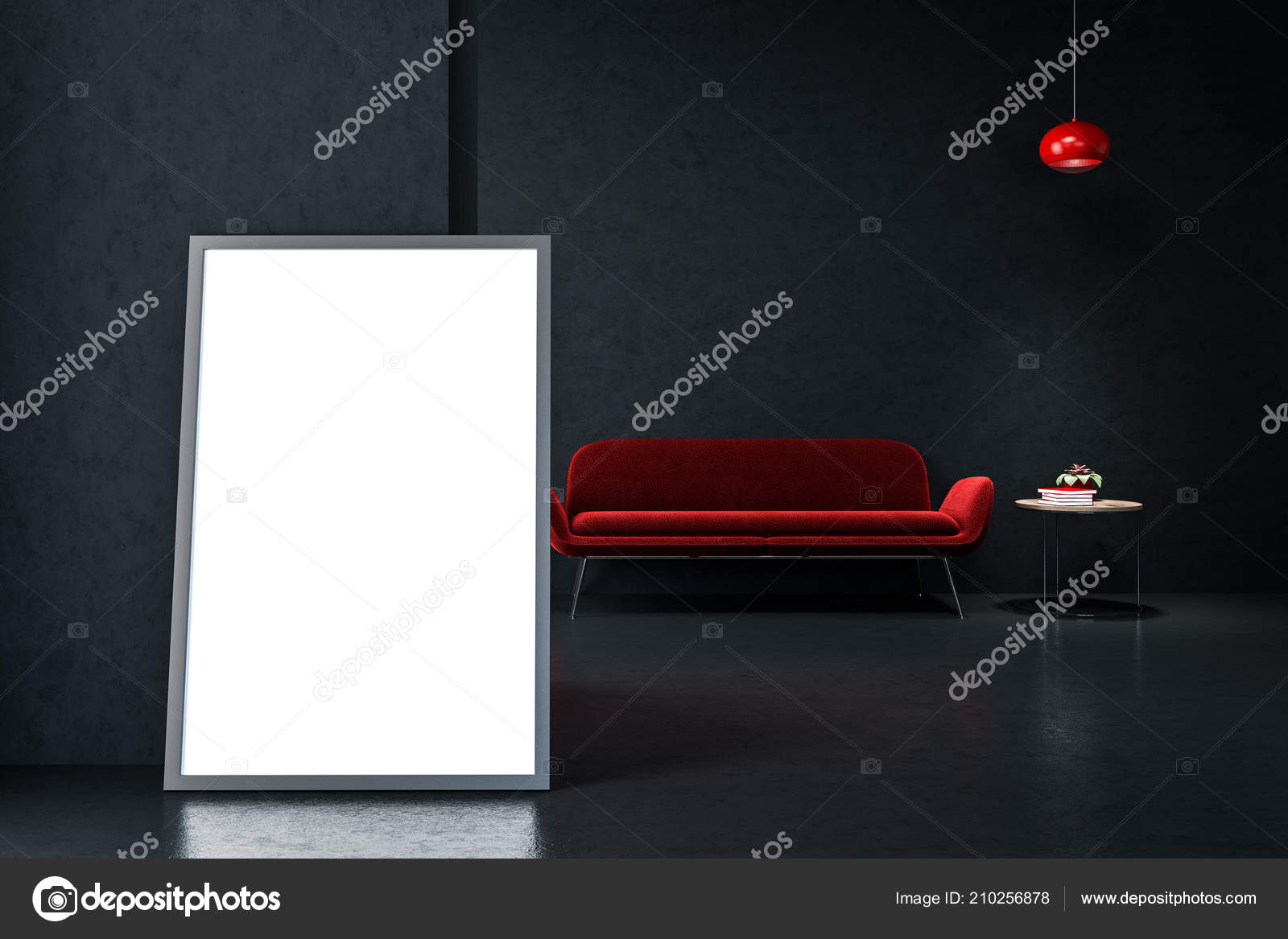 Awesome Bright Red Sofa Standing Empty Black Room Stylish Ceiling Download Free Architecture Designs Scobabritishbridgeorg