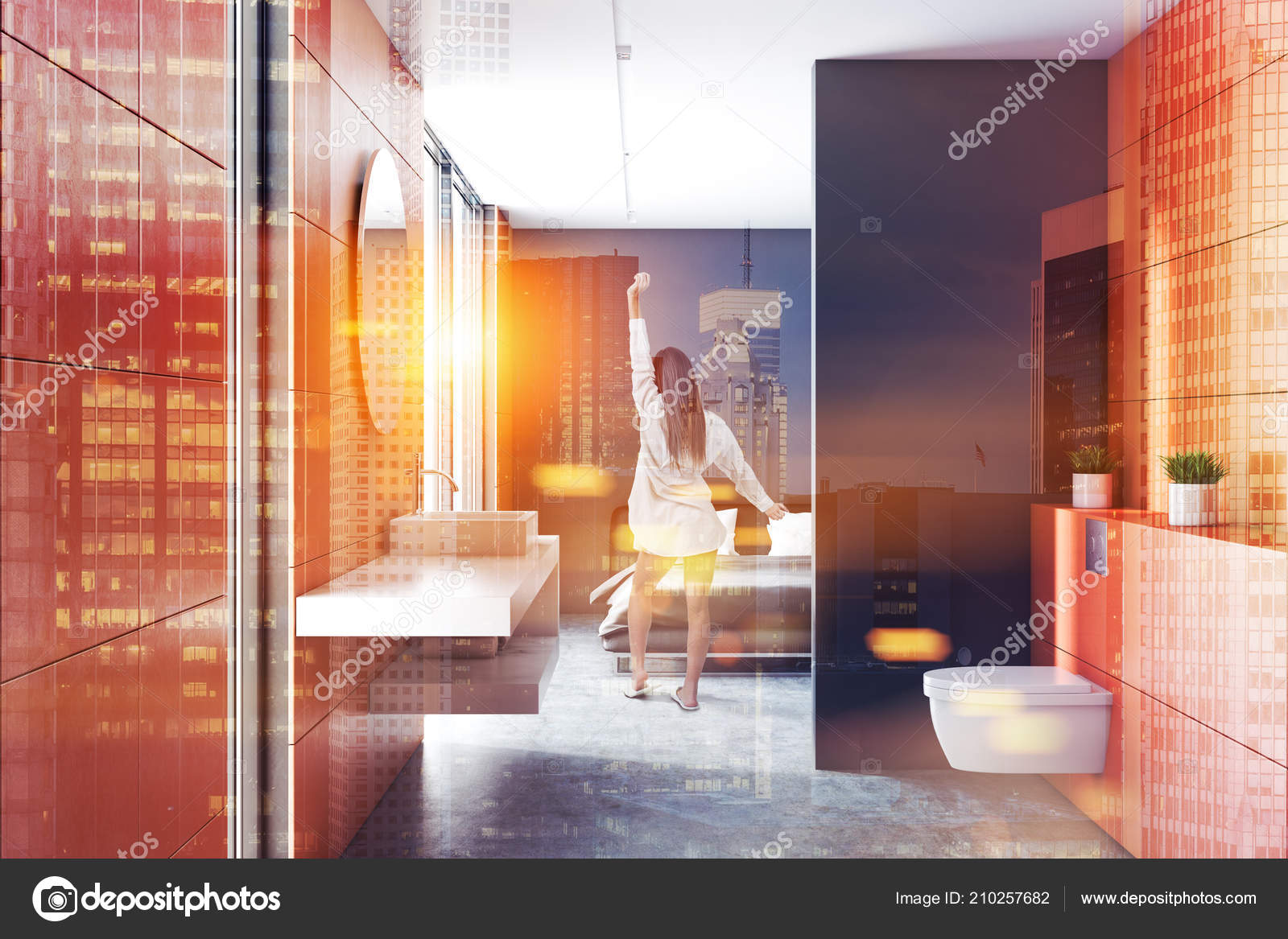 Intérieur Mur Orange Moderne Salle Bains Avec Sol Béton Blanc ...