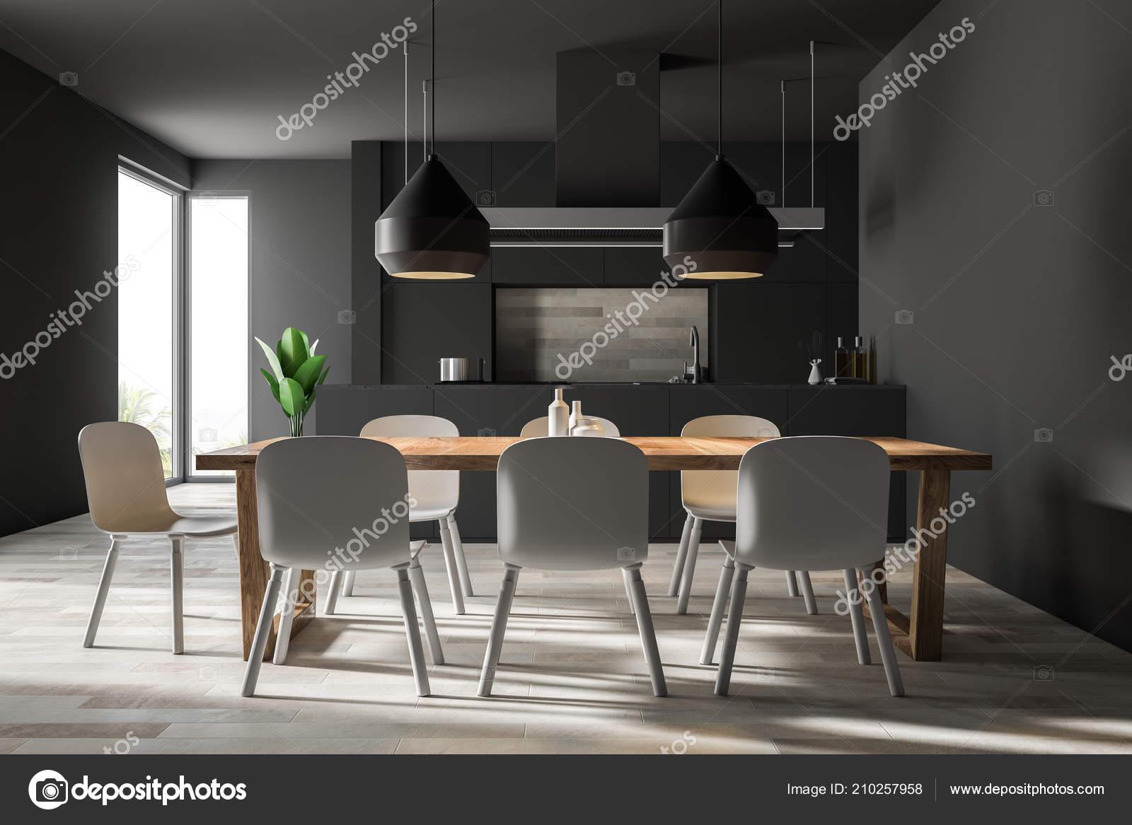 Parete Grigia Cucina Sala Pranzo Interna Con Pavimento Legno ...