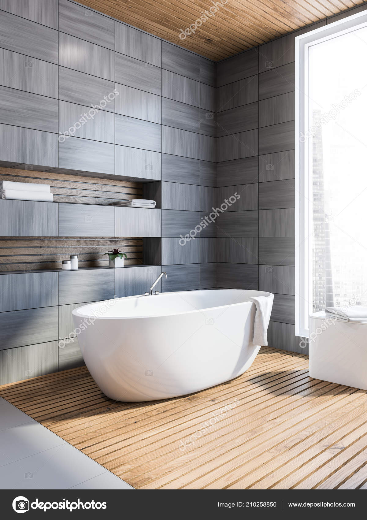 Moderne Grau Holz Geflieste Badezimmer Wandecke Mit Grauer Fußboden ...