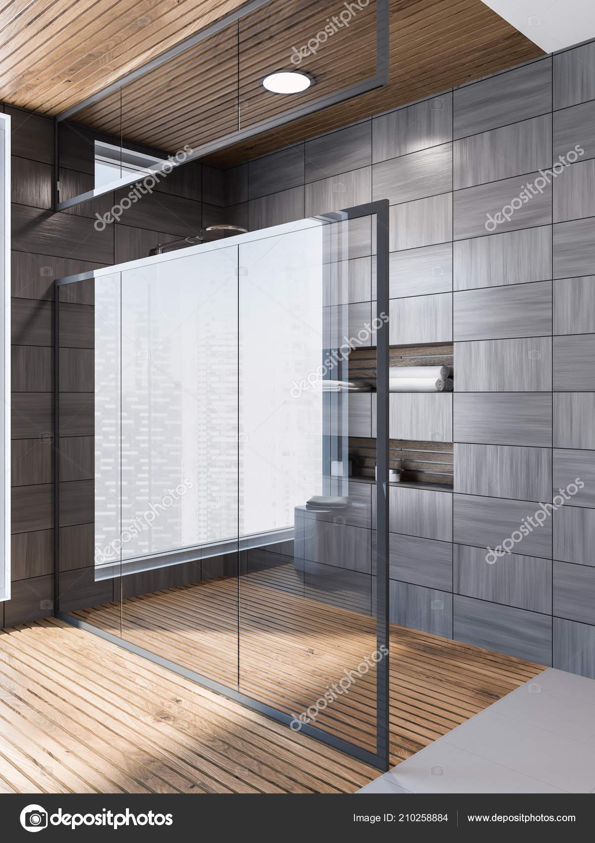 Moderno grigio legno piastrella parete bagno interno con pavimento grigio foto stock - Pavimento bagno moderno ...
