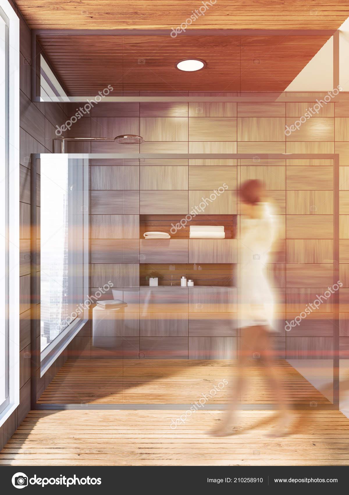 Frau Fuß Modernen Grau Holz Geflieste Badezimmer ...
