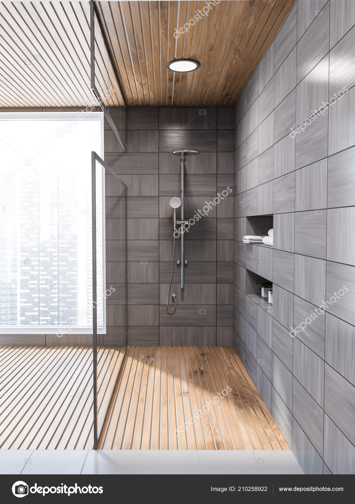 Moderne grau holz geflieste badezimmer wandinnenseite mit for Moderne badezimmer mit holz