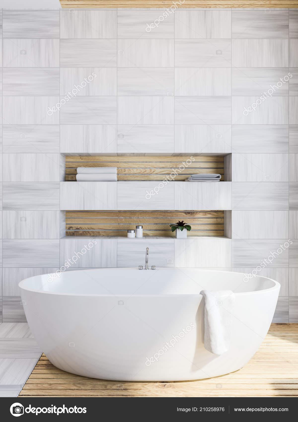 Bathroom Corner White Wooden Walls Floor Bathtub Shelves