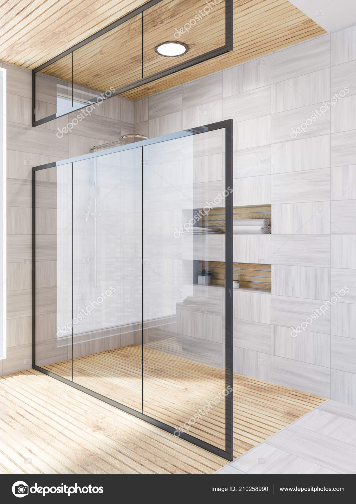 Verwonderlijk Hoek Van Badkamer Met Witte Houten Muren Vloer Een Glazen GU-74