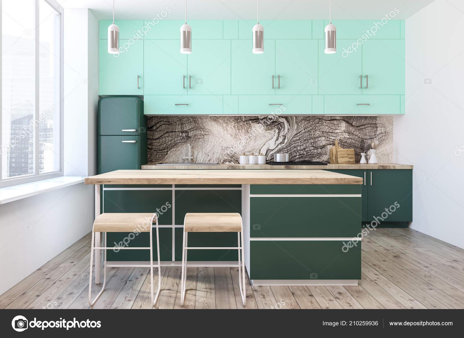 Holzfußboden Weiß ~ Weiß und marmor wand küche interieur mit einem holzfußboden grüne