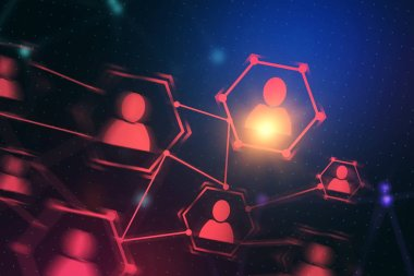 Red glowing human resources network immersive interface icons. Dark blue background. Toned image double exposure mock up