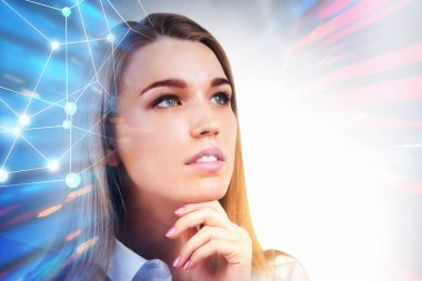 Portrait of a thoughtful young businesswoman with long blond hair over immersive interface background with a network hologram. Hi tech concept. Toned image double exposure mock up