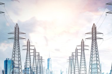 Row of high voltage steel power line supports over a sky with many clouds. Modern cityscape background. 3d rendering mock up