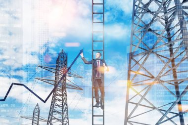 Businessman in suit standing on a ladder drawing a growing graph in the sky. Power line supports background. 3d rendering mock up toned image