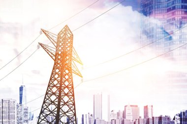 Single high voltage steel power line support over a blue sky with many clouds. Low angle. 3d rendering, mock up toned image. Double exposure of a city