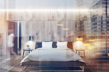 Front view of Scandinavian style bedroom with wooden walls and floor, and a master bed with bedside tables. Woman walking 3d rendering mock up toned image double exposure city blurred