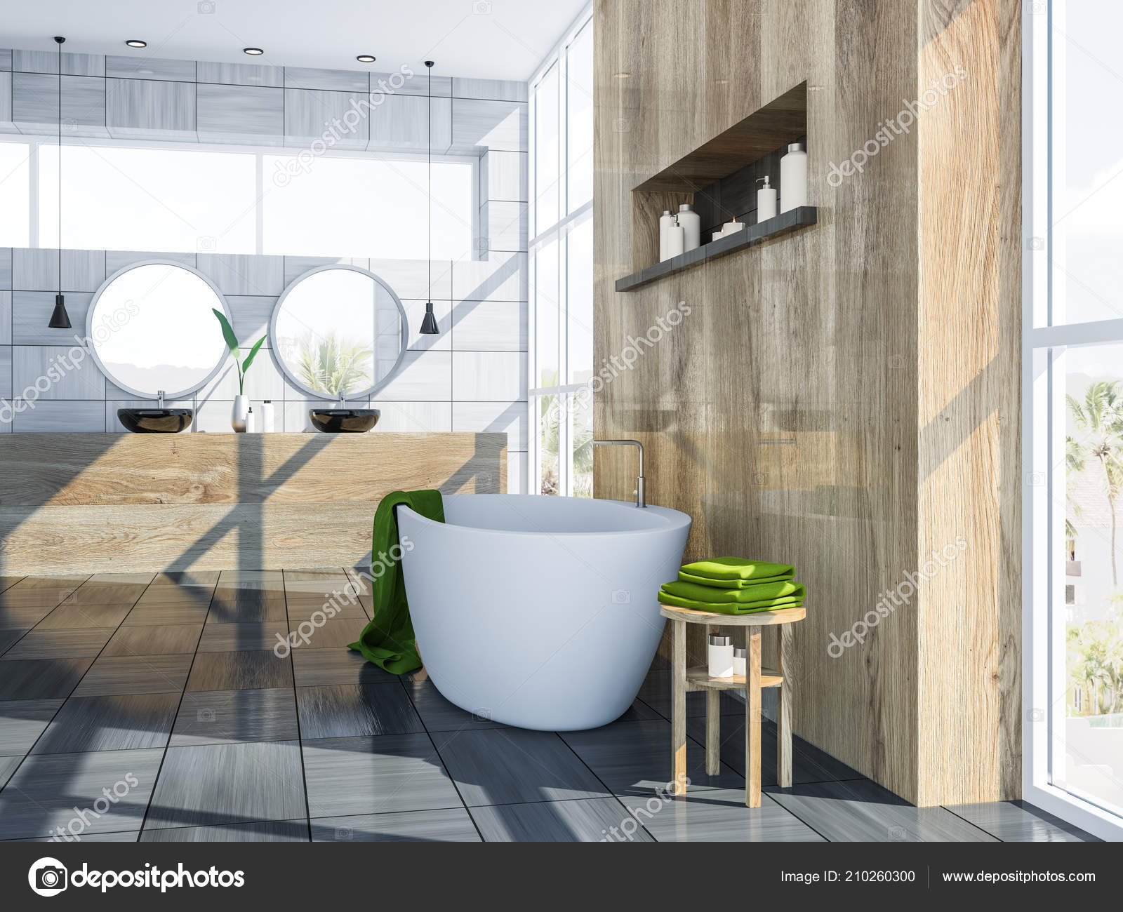 Moderno grigio legno piastrella parete bagno interno con pavimento